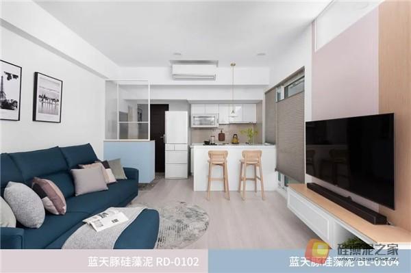 蓝天豚硅藻泥装修案例效果图:温馨、舒适、具有品质感的家居设计(图5)