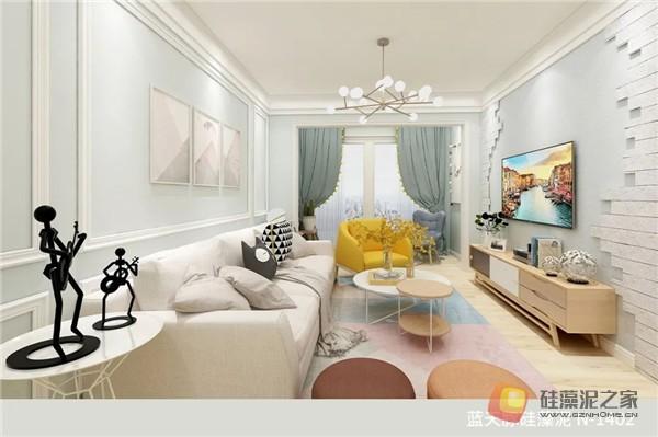 蓝天豚硅藻泥装修案例效果图:温馨、舒适、具有品质感的家居设计(图13)