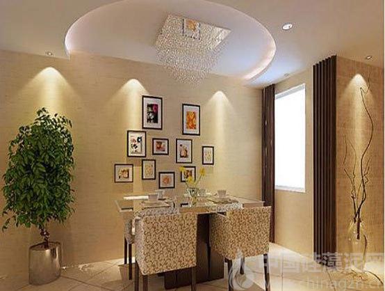 餐厅由于接近厨房,硅藻泥背景墙墙面选色宜白色,灰色系为主,顶面可