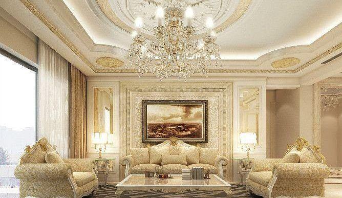 金色调硅藻泥装饰-客厅效果图(图片来源于网络)